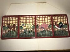 "Certified International Relish Tray Farm Animals Dish Susan Winget CIC 17.5""x6.5"