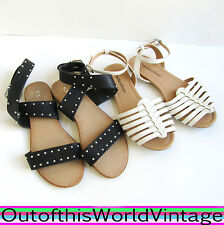 Shoes Lot SANDALS BLACK & WHITE Chinese Laundry Strappy Ankle Wrap Studded Sz 7