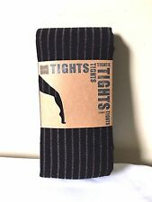 Look Hosiery Tights One Size Womens Black Stripe Full Foot Ribbed
