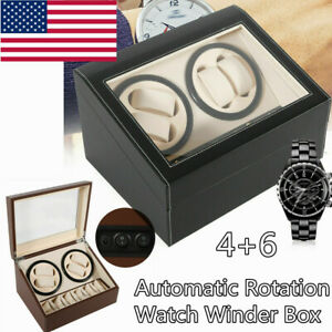 4+6 Automatic Rotation Leather Watch Winder Storage Case Box Silent Dual Motor