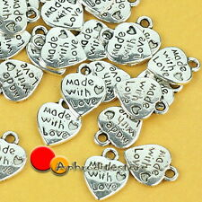 50X Silver Plated Made With Love Heart Alloy Metal Charms Pendants Findings Bead