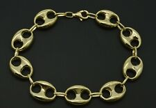 Real 10K Yellow Gold 15mm Mens Puffed Mariner Gucci Link Chain Bracelet 11.9gr
