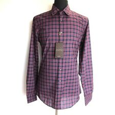 J-1028948 New Gucci Long Sleeve Red Blue Plaid Oxford Button Shirt Size-15.5/39