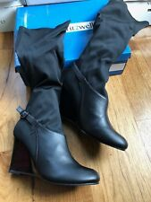 "RARE Fitzwell ""Elaine"" Wedge Stretch Leather Boot -  12M or 12WW - Black NIB!"
