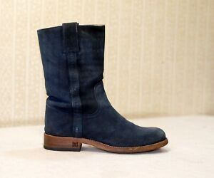 1800$ CHANEL blue suede mid calf CC chunky engineer combat boots 36-37 us6.5 uk4