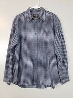 Eddie Bauer Men's Button Down Shirt Size Large Blue Plaid Flannel Long Sleeve