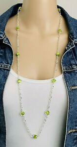 Signed Avon SH Silver Tone Lime Green Cat's Eye Glass Bead Station Necklace