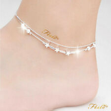 FASHION ANKLE BRACELET WOMEN 925 REAL STERLING SILVER ANKLET ADJUSTABLE CHAIN UK