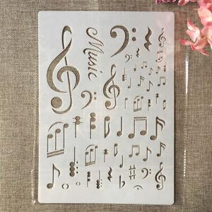 Stencil MUSICA note musicali per pittura decorazione pareti torte scrapbook