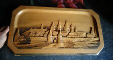 Ancienne Sculpture Paysagère sur Bois Vue de Cluny Remparts Abbaye signé POC