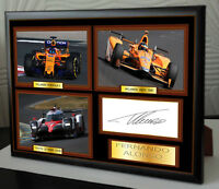 Fernando Alonso F1,INDY 500 & LE MANS 24 Framed Canvas Signed Print