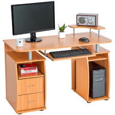 Computertisch PC-Tisch Arbeitstisch mit Schubladen Schreibtisch Büromöbel Buche