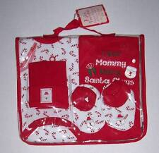 NWT 4 piece Christmas gift set for baby 0-6 mo Hat, booties, 2 bodysuits, bag