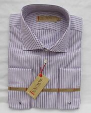MEN'S MARKS & SPENCER COLLEZIONE LILAC MIX STRIPE SHIRT+ CUFF-LINKS COLLAR 16.5