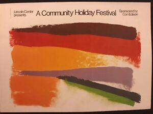 Lincoln Center, Friedel Dzubas.Community holiday Festival 1973 Pop Art Poster 44