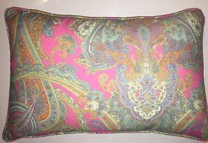 "Ralph Lauren Crystal Cay Pink Paisley Throw Pillow 10"" X 18"" Rare Pattern New"