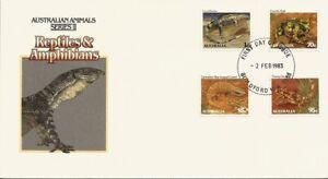1983 Australian Animals II Reptiles & Amphibians FDC - FDI Guildford WA 6055 PMK