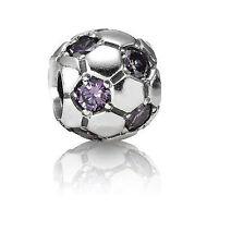 Genuine Pandora Silver Purple CZ Soccer Ball Football Charm Bead 790444ACZ