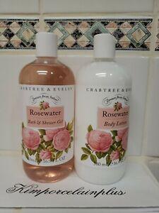 Crabtree & Evelyn ROSE WATER Body Lotion & Shower Gel SET 16.9 Fl OZ