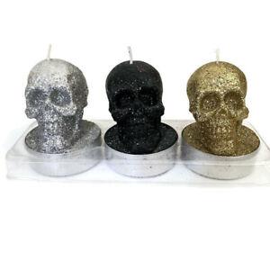 Dusk Candles Glittery Three Skull Decoration Home Decor Gold Silver Black