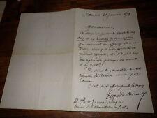 1872.Lettre autographe à Pierre Zaccone.Eugène de Mirecourt