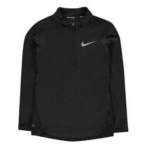 Nike Breathe Half Zip Black Running Top Junior Boys New (Sizes From 7-13 Yrs)
