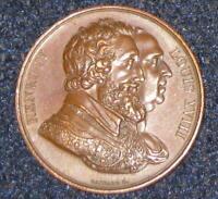 1818 Original Copper Medal by Raymon Gayrard Honoring Henri IV