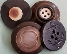 Antique /Vintage Black / Brown Vtg Carved Shell Anchor Metal Bakelite-33 Buttons