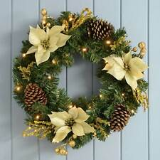 60 cm Decorated Pre-Lit Wreath with 20 Cold White LED Lights, Gold/Cream