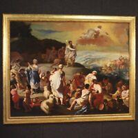 Antico dipinto religioso quadro olio su tela con cornice arte 700 XVIII secolo