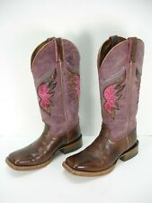 ARIAT 10016303 BROWN PURPLE LEATHER INLAY COWBOY WESTERN BOOTS WOMEN'S 7 B