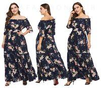 Women's Plus Size Floral Off Shoulder Bohemian Party Casual Beach Long Dresses