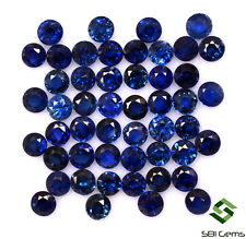 Natural Blue Sapphire Round Cut 2.50 mm Lot 25 Pcs Faceted Gemstones 2.24 Cts