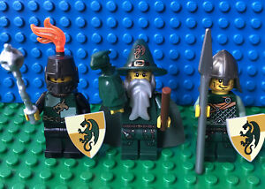 Lego Castle Green Dragon Wizard Knight Minifigure Lot Of 3 With Accessories