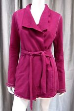 Lucky Brand Long Sleeve Cotton Sweat wrap Cardigan Size S small solid purple