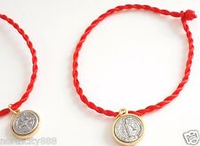 Red cord knotted Bracelet w/ St. Saint Benedict Image Medal Religious Cross