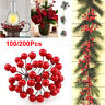 100/200Pcs Christmas Leaf Red Holly Berry Cherry Branch Ornaments Xmas Tree 10mm