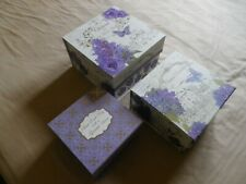 LILAC BUTTERFLY / CHATEAU DESIGN SET OF THREE CARDBOARD STORAGE / DISPLAY BOXES