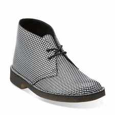 NEW WITH BOX CLARKS ORIGINALS DESERT PATTERN BLACK/WHITE LEATHER  SIZE 40 UK6,5C