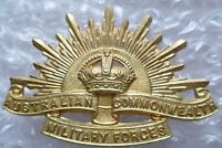Badge- Australian Commonwealth Military Forces Cap Badge KC- BRASS