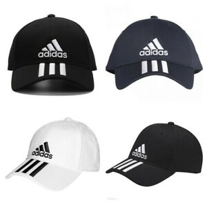 Adidas Kids Boys Baseball Cap 6 Panel 3 Stripes Cotton Caps Golf Hat Black White