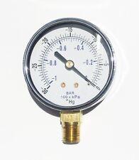 """Vacuum Dry Gauge -30-0 Hg 1/4 NPT Lower Side Mount For Air Water Oil 2.5"""" Dial"""
