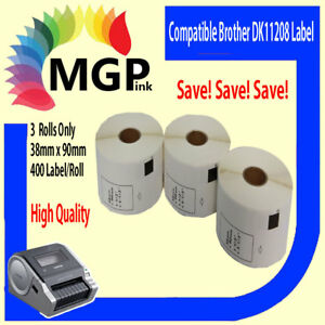 3x Rolls Compatible DK-11208 BROTHER Large Address Refill Labels – 38mm x 90mm