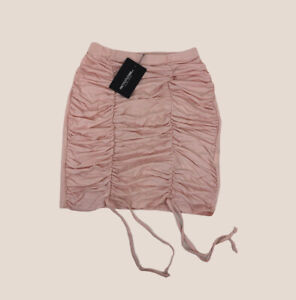 Pretty Little Thing Nude Pink Ruched Front Mini Skirt Summer Stretch Sz 10