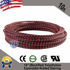 """10 FT 1/8"""" Black Red Expandable Wire Sleeving Sheathing Braided Loom Tubing US"""
