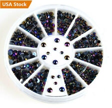 300x Nail Art Tips Gems Glitter Rhinestone DIY Decorations Black Wheel Manicure