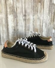 Soludos Tennis Platform Black Rose Gold Leather Espadrille Sneakers * 7 RARE!