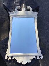 """Vintage Mirror With Fretwork White Wood Frame 48"""" x 24"""" x 3"""" In EUC"""