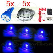 Set/5 Smoke Cab Roof Top Light Marker+Blue 6-LED+T10 Harness for 1999-2015 Ford