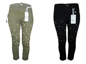 Women High Waist Stretch Floral Ripped Slim skinny Denim Pant Christmas jeans